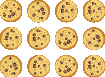 An image of three rows of four cookies to show twelve cookies.
