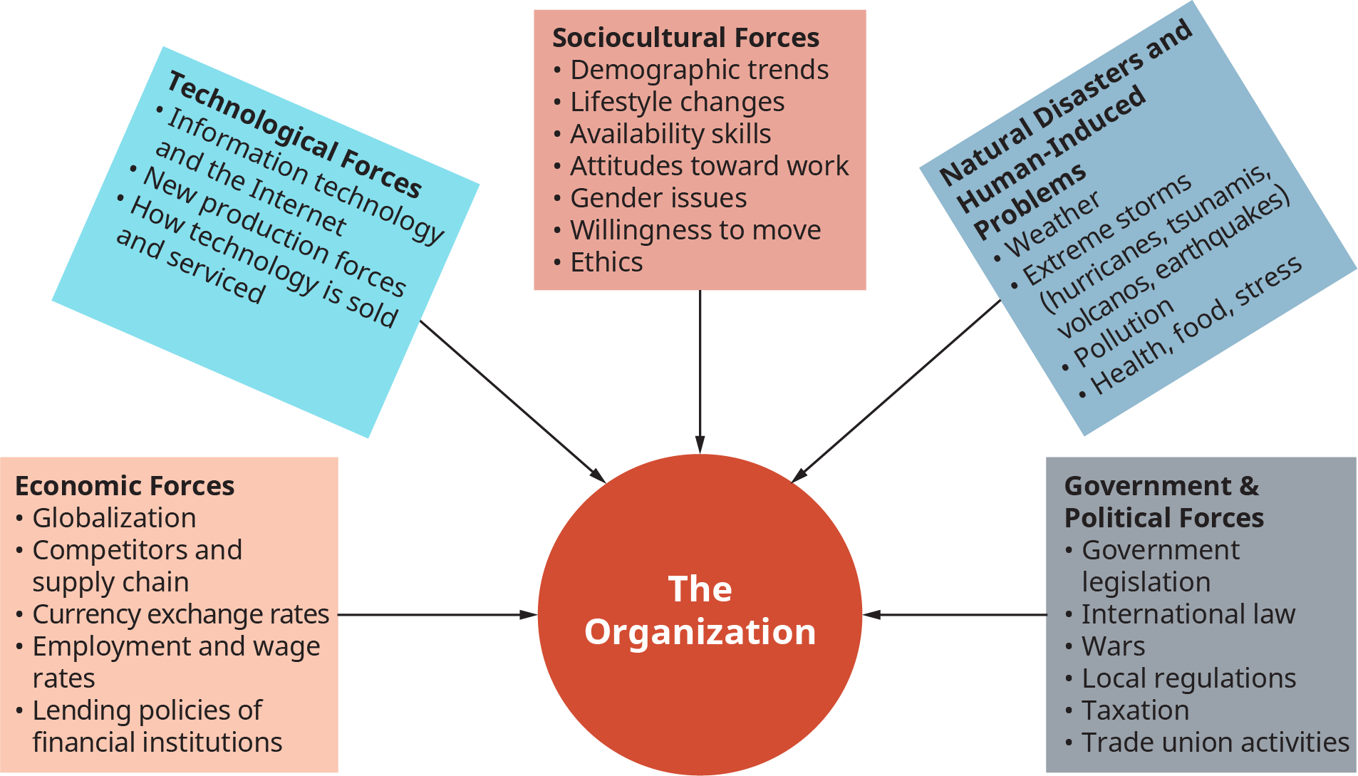 A diagram illustrates different types of macro environments and forces that affect organizations.