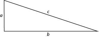 Figure shows a right triangle with the shortest side being a, the second side being b and the hypotenuse being c.