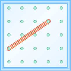 The figure shows a grid of evenly spaced dots. There are 5 rows and 5 columns. There is a rubber band style loop connecting the point in column 1 row 4 and the point in column 4 row 2.