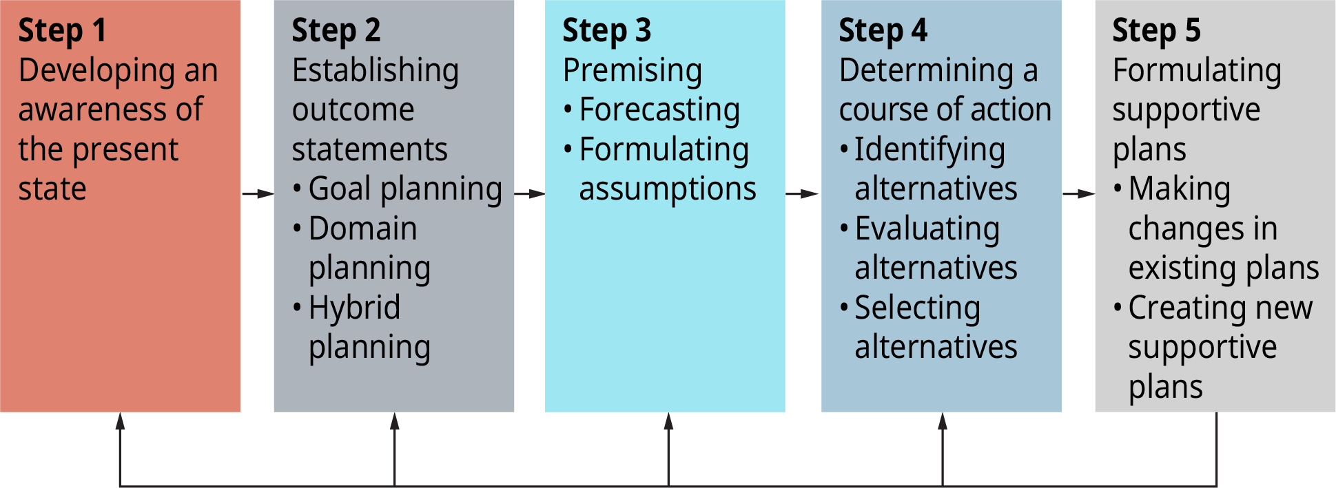 A flowchart shows the five steps in the planning process.
