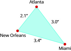 The figure is a triangle formed by New Orleans, Atlanta, and Miami. The distance between New Orleans and Atlanta is 2.1 inches. The distance between Atlanta and Miami is 3 inches. The distance between Miami and New Orleans is 3.4 inches.
