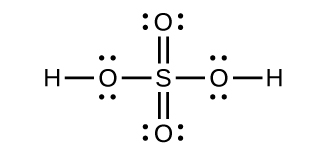 A Lewis structure is shown in which a sulfur atom is single bonded to four oxygen atoms. Two of the oxygen atoms have three lone pairs of electrons while the other two each have two lone pairs of electrons and are each singly bonded to a hydrogen atom.