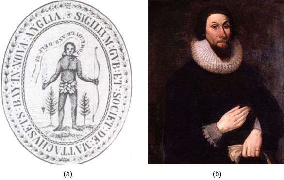 "Image (a) shows the 1629 seal of the Massachusetts Bay Colony. On the seal, a Native American dressed in a leaf loincloth and holding a bow is depicted asking colonists to ""Come over and help us."" Image (b) is a portrait of John Winthrop, who wears dark clothing, an Elizabethan ruff, and a pointed beard."