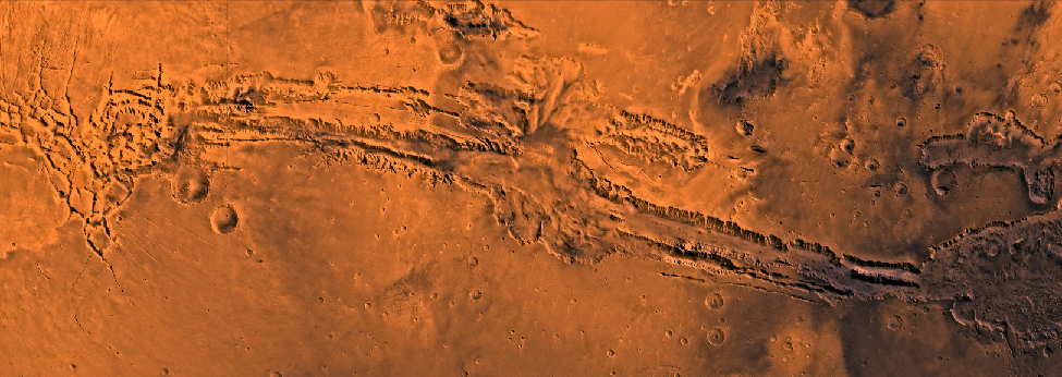 Valles Marineris. The entire length of this monumental valley spans the entire image from left to right.