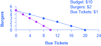 The graph shows how opportunity cost is affected by the purchase of either burgers or bus tickets. The opportunity cost of bus tickets is the number of burgers that must be given up to obtain one more bus ticket.