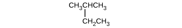 This structure shows a hydrocarbon chain composed of C H subscript 3 C H C H subscript 3 with a C H subscript 2 C H subscript 3 group attached beneath the second C atom counting left to right.
