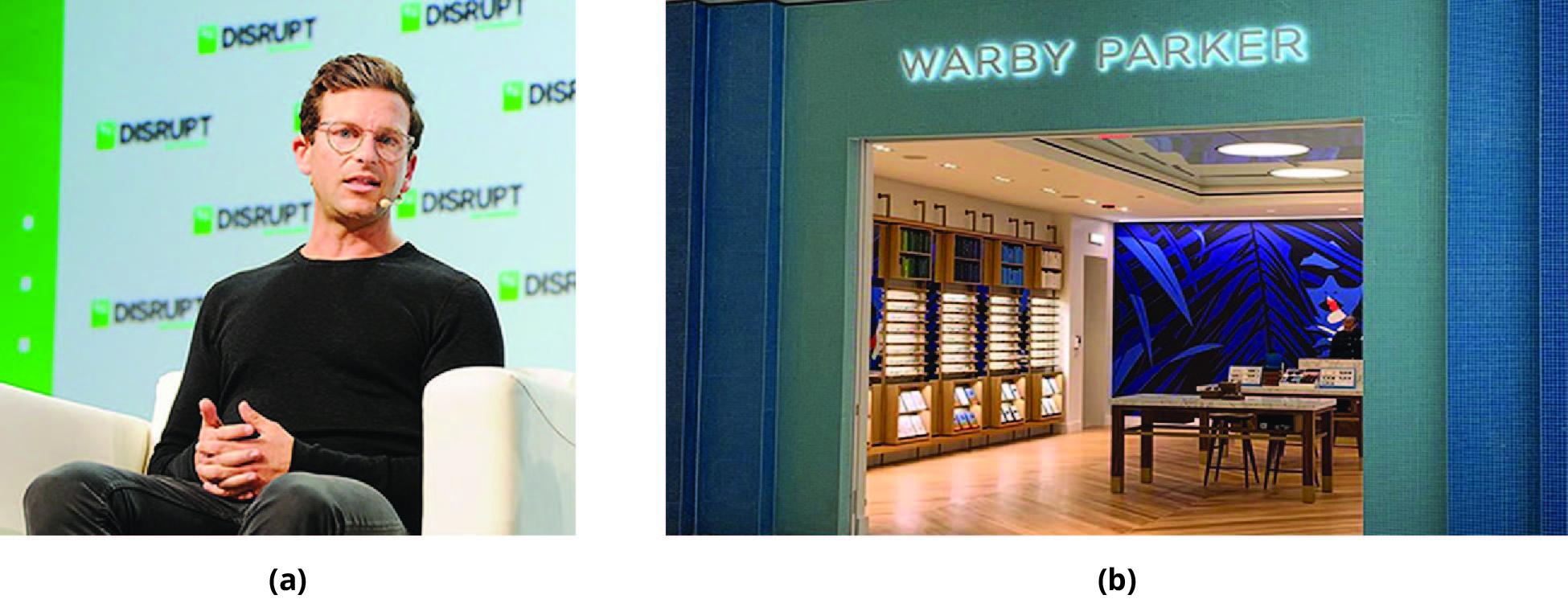 (a) Photo of Dave Gilboa. (b) Photo of a Warby Parker retail store.