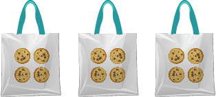 An image of 3 bags of cookies, each bag containing 4 cookies.