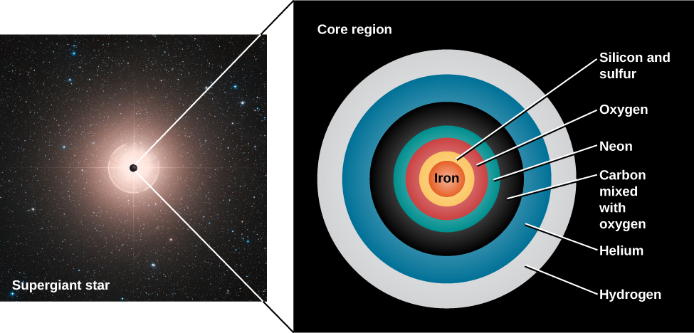 "Illustration of the Structure of an Old Massive Star. At left is an image of a star labeled ""Supergiant star"", with a black dot drawn at the center of the star and expaned into the panel at right labeled ""Core region"". The ""Core region"" shows a cross section of the interior of the supergiant star. Beginning at the center is the ""Iron"" core in red. Next is a yellow shell of ""Silicon and sulfur"", then an ""Oxygen"" shell in red, ""Neon"" in blue-green, ""Carbon mixed with oxygen"" in black, followed by ""Helium"" in blue and finally ""Hydrogen"" in white."