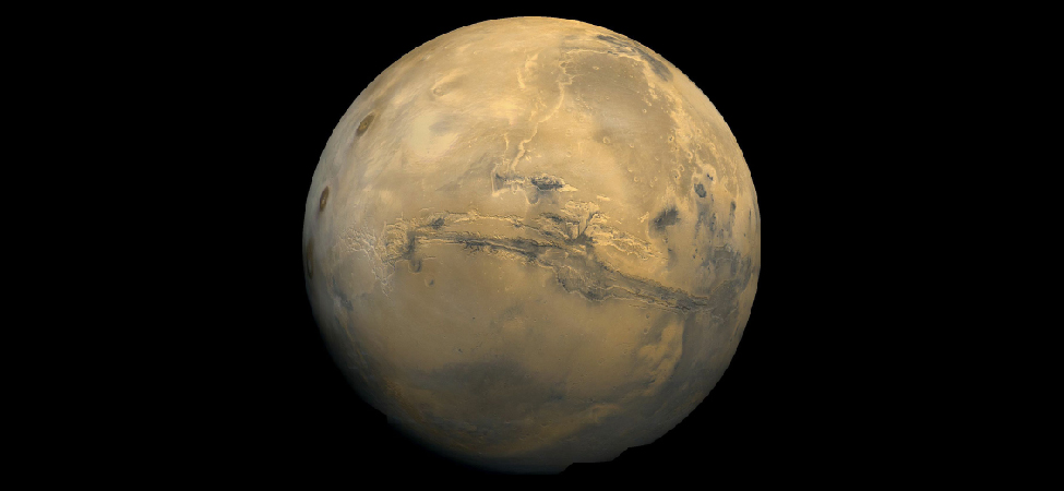 Image of the Planet Mars. This composite image is centered on the Valles Marineris (Mariner Valley) region near the Martian equator.