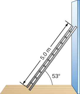 Figure is a schematic drawing of a 5.0-m-long ladder resting against a wall. Ladder forms a 53 degree angle with the floor.