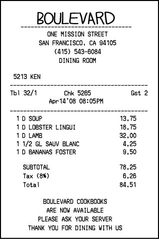 The figure shows a restaurant check with sales tax