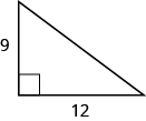 A right triangle is shown. The right angle is marked with a box. One of the sides touching the right angle is labeled as 9, the other as 12.
