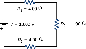 The figure shows negative terminal of a voltage source of 18 V connected to three resistors in series, R subscript 1 of 4 Ω, R subscript 2 of 1 Ω and R subscript 3 of 4 Ω.