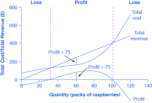The graph shows that firms will incur a loss if the total cost is higher than the total revenue.  The x-axis is the quantity of raspberry packs.  The y-axis is the total cost/total revenue.  The description of the graph is located in the paragraph below the table.