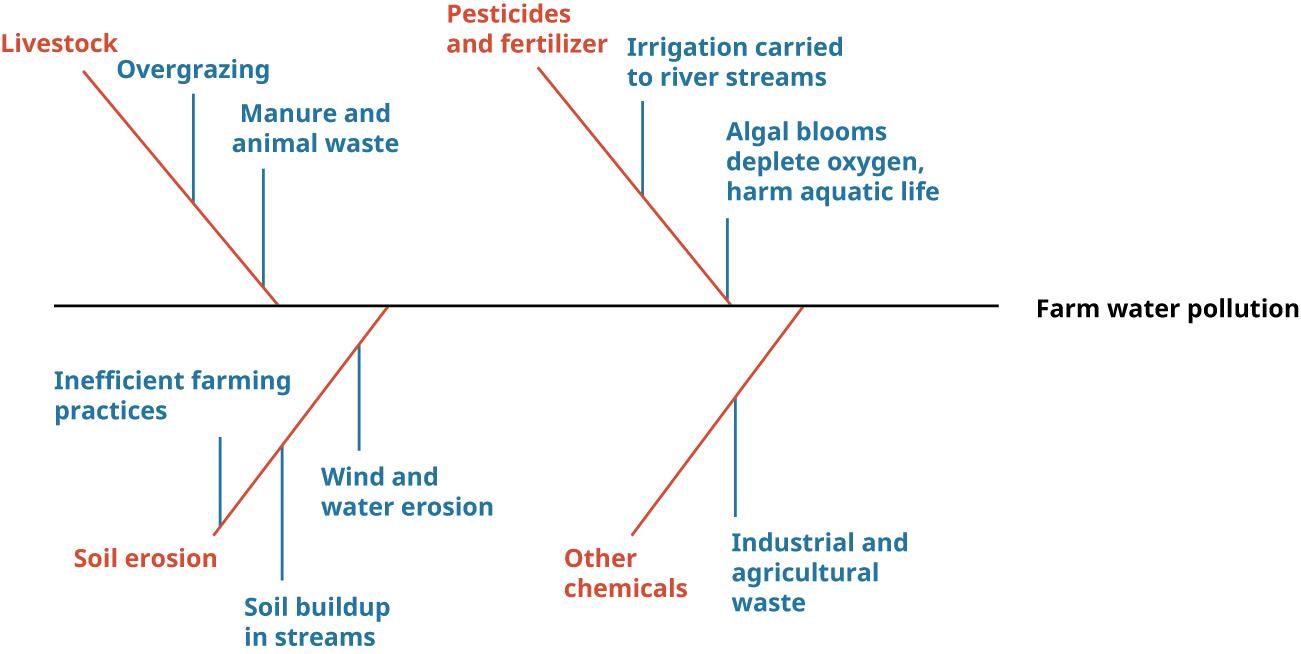 Fishbone diagram showing farm water pollution as the main horizontal line. Causes include livestock (with secondary causes of overgrazing, and manure and animal waste), pesticides and fertilizer (with secondary causes of irrigation carried to river streams and algal blooms that deplete oxygen and harm aquatic life), soil erosion (with secondary causes of inefficient farming practices, soil buildup in streams, and wind and water erosion), and other chemicals (with a secondary cause of industrial and agricultural waste).