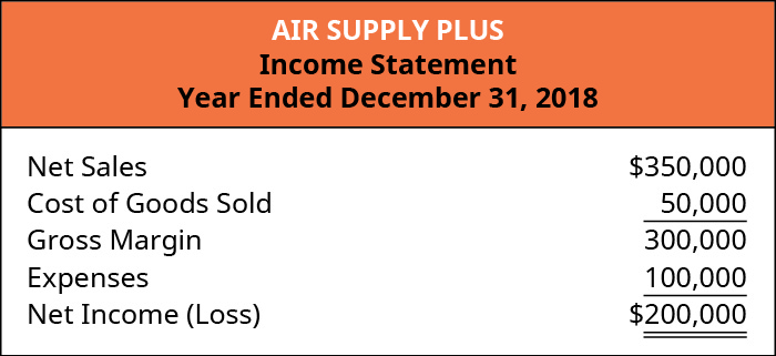Annual Income Statement that lists Net Sales of $350,000, Cost of Goods Sold of $50,000, Gross Margin of $300,000, Expenses of $100,000, and Net Income of $200,000.