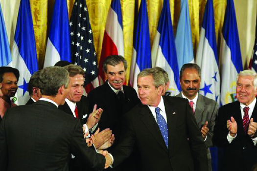 An image of George W. Bush shaking hands with legislators and administration officials.