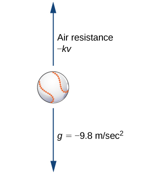 "A diagram of a baseball with an arrow above it pointing up and an arrow below it pointing down. The upper arrow is labeled ""air resistance –kv"" and the lower arrow is labeled ""g = -9.8 m/sec ^ 2."""