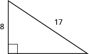 A right triangle is shown. The right angle is marked with a box. The side across from the right angle is labeled as 17. One of the sides touching the right angle is labeled as 8.