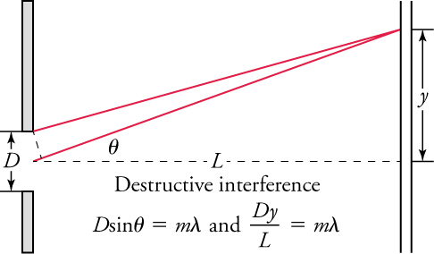 "Drawing entitled ""Destructive interference."" It shows two screens, one on the left having a slit with width labeled ""D."" The distance from the slit to the screen on the right is labeled ""L."" It is represented as a dashed line that runs through the center of the slit and is perpendicular to both screens. A solid line extends upward and to the right from the center of the slit to strike the screen on the right. That line forms an angle labeled ""theta"" with the horizontal dashed line. A second solid line, from the top of the slit, extends upward and to the right to strike the same point as the first solid line. That point is a distance labeled ""y"" above the horizontal dashed line. A formula states that ""D times the sine of the angle theta is equal to m times the wavelength lambda."" A second formula states that ""D times y divided by L is equal to m times lambda."""