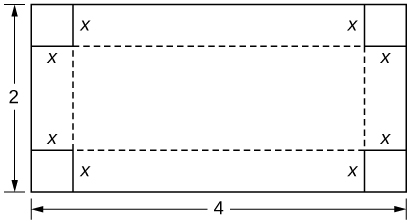 A rectangle is drawn with height 2 and width 4. Each corner has a square with side length x marked on it.