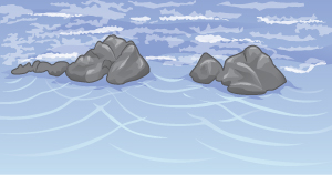 Drawing of two groups of rocks on a beach. Waves from the top of figure produce three sets of curved wavefronts that expand outward as they pass through gaps between the rocks.