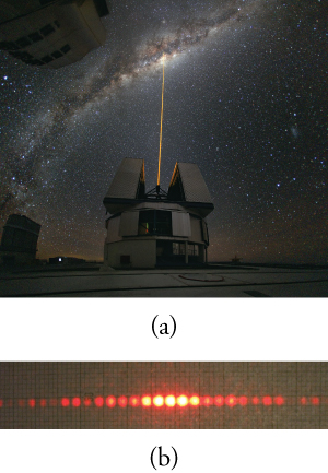 (a) Photo of a laser beam directed vertically from an observatory into a night sky. (b) Photo of a horizontal line of about twenty closely spaced red dots. The five dots in the center are much brighter than the others.