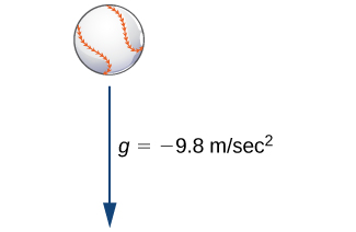 A picture of a baseball with an arrow underneath it pointing down. The arrow is labeled g = -9.8 m/sec ^ 2.