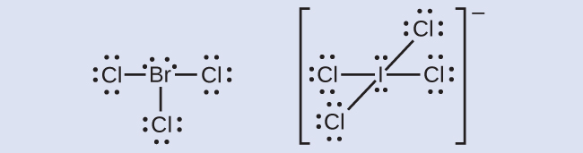 Two Lewis structures are shown. The left depicts a bromine atom with two lone pairs of electrons single bonded to three chlorine atoms, each with three lone pairs of electrons. The right shows an iodine atom, with two lone pairs of electrons, single boned to four chlorine atoms, each with three lone pairs of electrons. This structure is surrounded by brackets and has a superscripted negative sign.