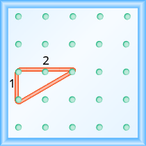 The figure shows a grid of evenly spaced dots. There are 5 rows and 5 columns. There is a rubber band style triangle connecting three of the three points at column 1 row 3, column 1 row 4,and column 3 row 3.