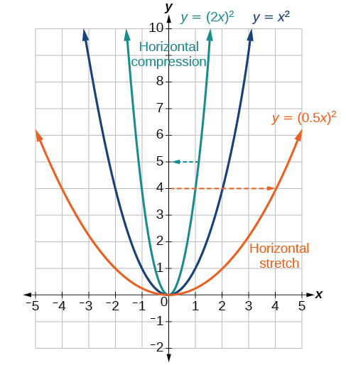 Graph of the vertical stretch and compression of x^2.