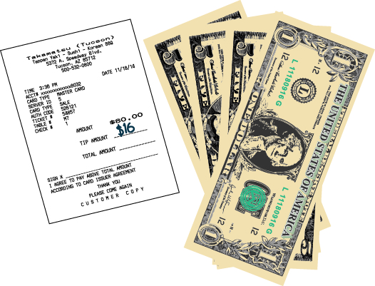 The figure shows a customer copy of a restaurant receipt with the amount of the bill, $80, and the amount of the tip, $16. There is a group of bills totaling $16.