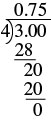 A division problem is shown. 3.00 is on the inside of the division sign and 4 is on the outside. Below the 3.00 is a 28 with a line below it. Below the line is a 20. Below the 20 is another 20 with a line below it. Below the line is a 0. Above the division sign is 0.75.