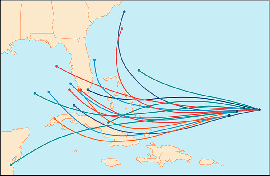 Spaghetti map of the possible paths for a hurricane over the Southeastern United States