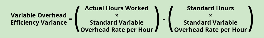 Variable Overhead Efficiency Variance equals Actual Hours Worked times Standard Variable Overhead Rate per Hour) minus (Standard Hours times Standard Variable Overhead rate per Hour).