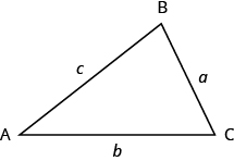 The vertices of the triangle on the left are labeled A, B, and C. The sides are labeled a, b, and c.