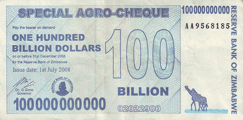 The image shows a photograph of Zimbabwean currency.