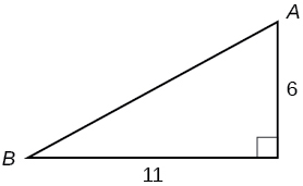 A right triangle with side lengths of 11 and 6. Corners A and B are also labeled.