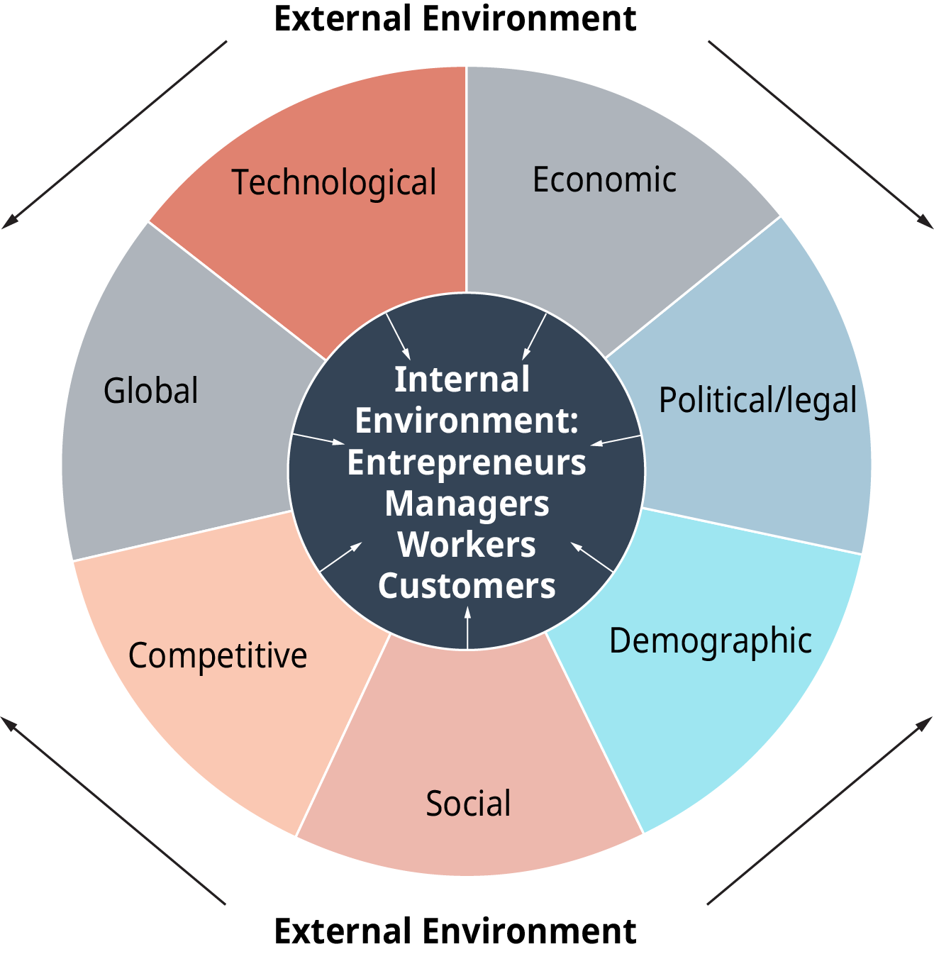 The diagram is a circle, with a core that is labeled, and sections surrounding the core that are labeled. Outside of the circle is the external environment, which affects the contents of the circle. The core is labeled as, Internal Environment; entrepreneurs, managers, workers, and customers. The sections surrounding the core are as follows; technological, and economic, and political slash legal, and demographic, and social, and competitive, and global. All these sections have arrows pointing inward to the core internal environment.