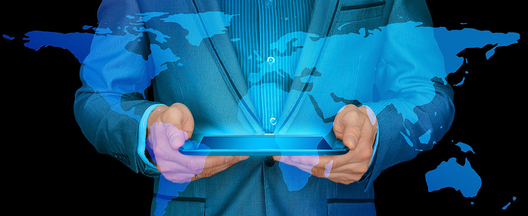 The image depicts a person holding a tablet computer, with an overlay of the world map superimposed in a three-dimensional effect.