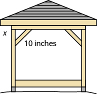 A picture of a gazebo is shown. Beneath the roof is a rectangular shape. There are two braces from the top to each side. The brace on the left is labeled as 10 inches. From where the brace hits the side to the roof is labeled as x.