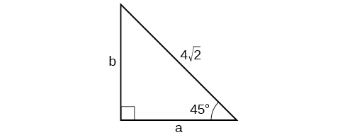 A right triangle with corners labeled A, B, and C. Hyptenuse has length of 4 times square root of 2. Other angles measure 45 degrees.