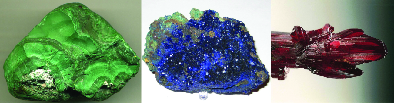 This figure contains three photos. The first is of a jade green mineral chunk with a darkened regions and a matte surface. The second is of a crystalline mineral chunk composed primarily of bright royal blue shiny crystals and some lighter blue crystalline regions. The third is of long red crystals.