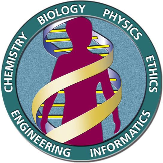 The human genome project's logo is shown, depicting a human being inside a DNA double helix. The words chemistry, biology, physics, ethics, informatics, and engineering surround the circular image.