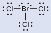 A Lewis structure is shown. A bromine atom with two lone pairs of electrons is single bonded to three chlorine atoms, each of which has three lone pairs of electrons.