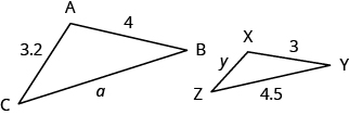 Two triangles are shown. They appear to be the same shape, but the triangle on the right is smaller. The vertices of the triangle on the left are labeled A, B, and C. The side across from A is labeled a, the side across from B is labeled 3.2, and the side across from C is labeled 4. The vertices of the triangle on the right are labeled X, Y, and Z. The side across from X is labeled 4.5, the side across from Y is labeled y, and the side across from Z is labeled 3.