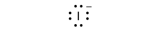 A Lewis dot diagram shows the symbol for iodine, I, surrounded by eight dots and a superscripted negative sign.