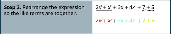 Step 2 is to rearrange the expression so the like terms are together. Hence, we have 2 x squared plus x squared plus 3 x plus 4 x plus 7 plus 5.